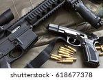 rifle with handgun and... | Shutterstock . vector #618677378