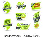 set of yellow colored stickers...   Shutterstock .eps vector #618678548