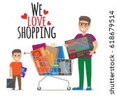we love shopping icon of father ...   Shutterstock .eps vector #618679514