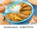 vegetable onion fritters served ...