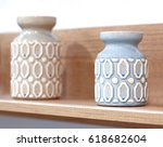 two ceramic glaze vases on the... | Shutterstock . vector #618682604