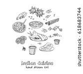 vector hand drawn set of indian ...   Shutterstock .eps vector #618683744
