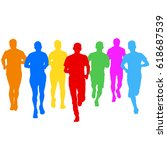 set of silhouettes runners on... | Shutterstock . vector #618687539