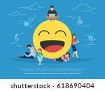 young men and women standing... | Shutterstock . vector #618690404