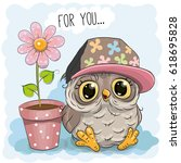greeting card cute cartoon owl... | Shutterstock . vector #618695828