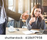 boss employer admires to young... | Shutterstock . vector #618697958