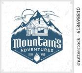 vector mountain and outdoor... | Shutterstock .eps vector #618698810