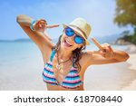 beautiful young female student... | Shutterstock . vector #618708440