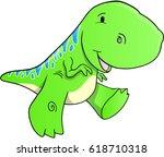 cute green dinosaur vector... | Shutterstock .eps vector #618710318