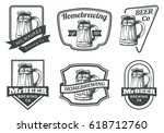 set of beer mug emblems  badges ... | Shutterstock .eps vector #618712760