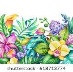 watercolor floral illustration  ... | Shutterstock . vector #618713774