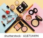 set cosmetics makeup  brush ... | Shutterstock . vector #618714494