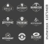 restaurant logos templates... | Shutterstock .eps vector #618714608