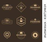 bakery shop logos templates set.... | Shutterstock .eps vector #618714614