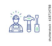 construction worker in hard hat ... | Shutterstock .eps vector #618714788