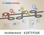 design template  road map... | Shutterstock .eps vector #618719168