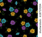 embroidery seamless floral... | Shutterstock .eps vector #618719204