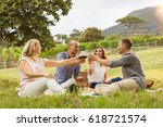 mature friends raising their... | Shutterstock . vector #618721574