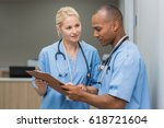 medical multiethnic staff... | Shutterstock . vector #618721604
