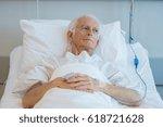 senior man with oxygen tube... | Shutterstock . vector #618721628
