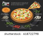 pizza on the board with the... | Shutterstock .eps vector #618722798