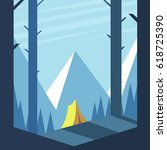 summer camp. tent in the woods... | Shutterstock .eps vector #618725390