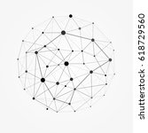 wireframe mesh polygonal sphere.... | Shutterstock .eps vector #618729560