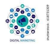 digital marketing illustration... | Shutterstock .eps vector #618731309