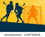 lacrosse player in protective... | Shutterstock .eps vector #618733646