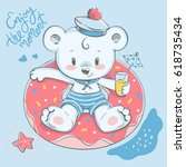 cute little bear swimming with... | Shutterstock .eps vector #618735434