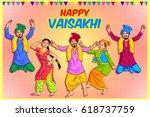 happy vaisakhi | Shutterstock .eps vector #618737759
