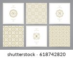 luxury retro wedding cards with ... | Shutterstock .eps vector #618742820