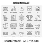 vector set of thin line icons... | Shutterstock .eps vector #618746438