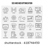 vector set of thin line icons... | Shutterstock .eps vector #618746450