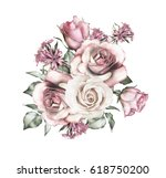 watercolor flowers. floral... | Shutterstock . vector #618750200