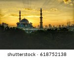 glorious sunrise with a close... | Shutterstock . vector #618752138