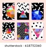 trendy card memphis style... | Shutterstock .eps vector #618752360