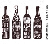typography set of wine bottle... | Shutterstock .eps vector #618754109
