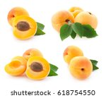 apricot fruits collection with... | Shutterstock . vector #618754550