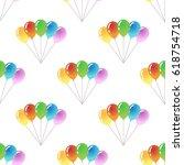colorful balloons on white... | Shutterstock .eps vector #618754718