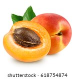 apricot with leaf isolated on... | Shutterstock . vector #618754874
