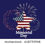 memorial day greeting card.... | Shutterstock .eps vector #618755948