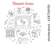 vector set of theater icons... | Shutterstock .eps vector #618756950