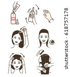 steps how to apply hair dye. ... | Shutterstock .eps vector #618757178