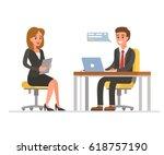 woman having a job interview... | Shutterstock .eps vector #618757190