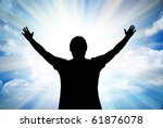 big sun and silhouette of man.... | Shutterstock . vector #61876078