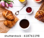 breakfast with croissants and... | Shutterstock . vector #618761198