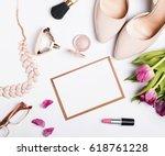 woman's accessories of beige... | Shutterstock . vector #618761228