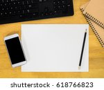 brown wood office table with a... | Shutterstock . vector #618766823