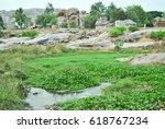rocky marshes of hampi | Shutterstock . vector #618767234